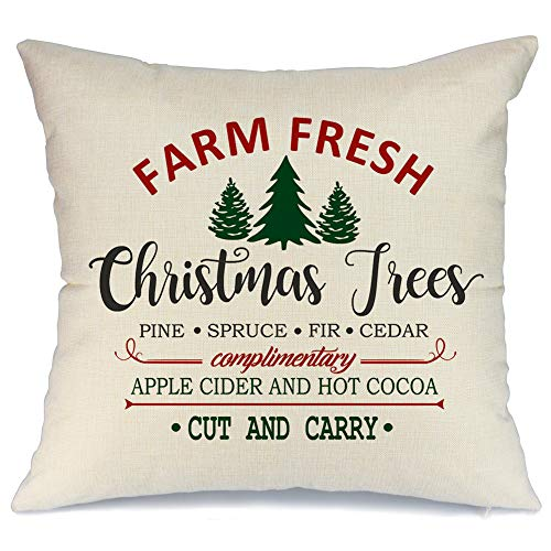 christmas red black plaids xmas trees throw pillow holiday cushion covers 2pack