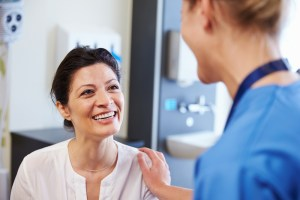 Woman consults with her gynecologist about endometriosis