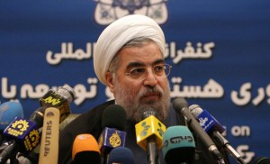 Secretary-General of Iran's Supreme National Security Council Hassan Rohani speaks to the media in Tehran.