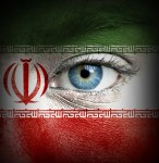 26400312 - human face painted with flag of iran