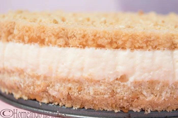 Lateral de la Tarta de queso, naranja y canela.