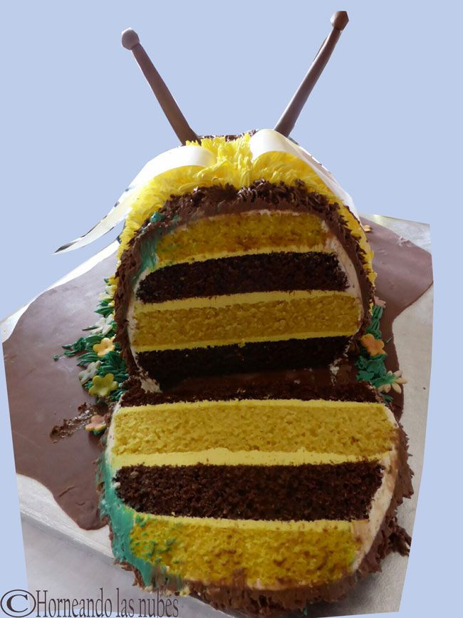 Interior tarta abejorro.