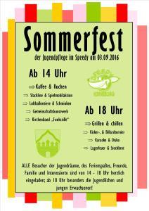 Sommerfest der Jugendpflege im Speedy am 03.09.2016