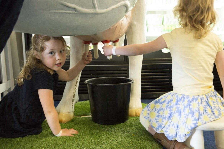 Girls milking model cow