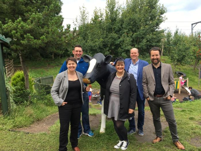 Model Cow with Ruth Davidson MSP and friends