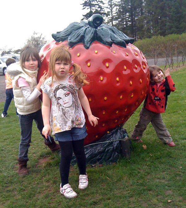 Kids & Giant Strawberry