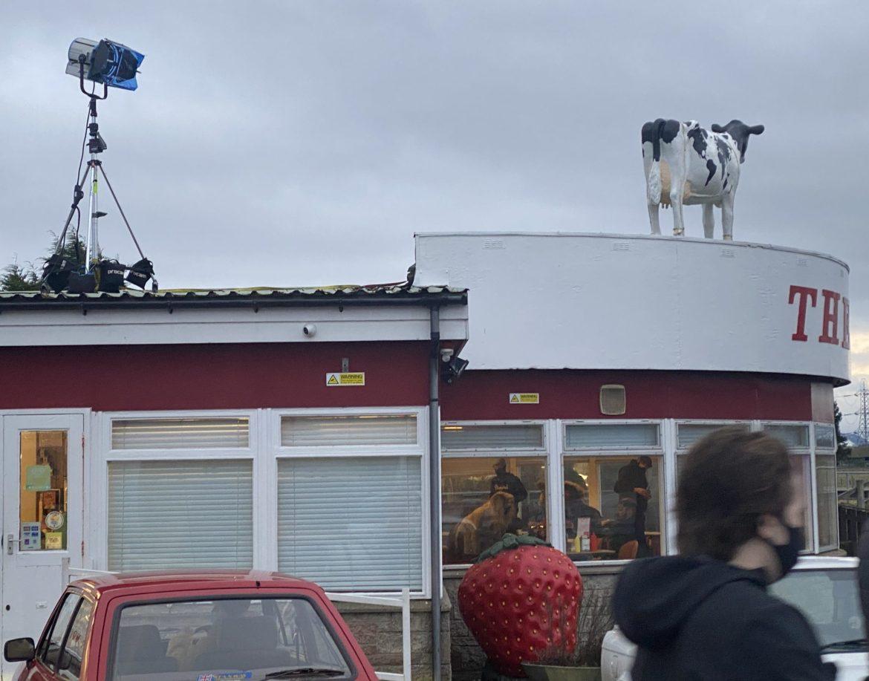 """Giant Strawberry Model on filmset at The Horn for """"Pram Snatcher"""""""