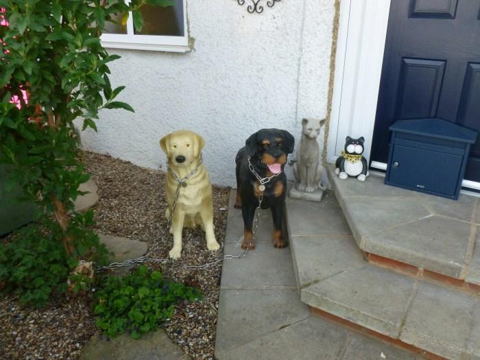 Golden Labrador Dog Model Sitting alongside Rottweiler Model