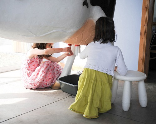 Kids milk 3D model milking cow