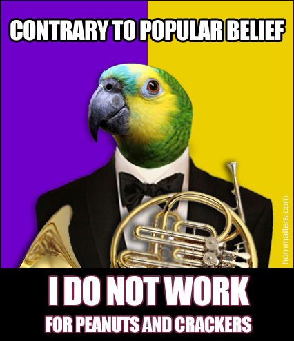 Parrot plays french horn meme
