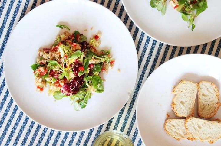 Ensalada de quinoa con granada receta