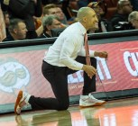 Coach Shaka Smart watching closely-not happy with that defense-