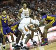 Ball on the floor-unfortunately possesion goes to LSU-