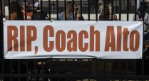 Left field fans remembering one of the helicopter victims, Coach John Alto-a close friend of Coach Pierce