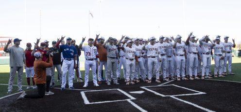 """The Eyes of Texas-2020 Texas Baseball team and Alumni team-"