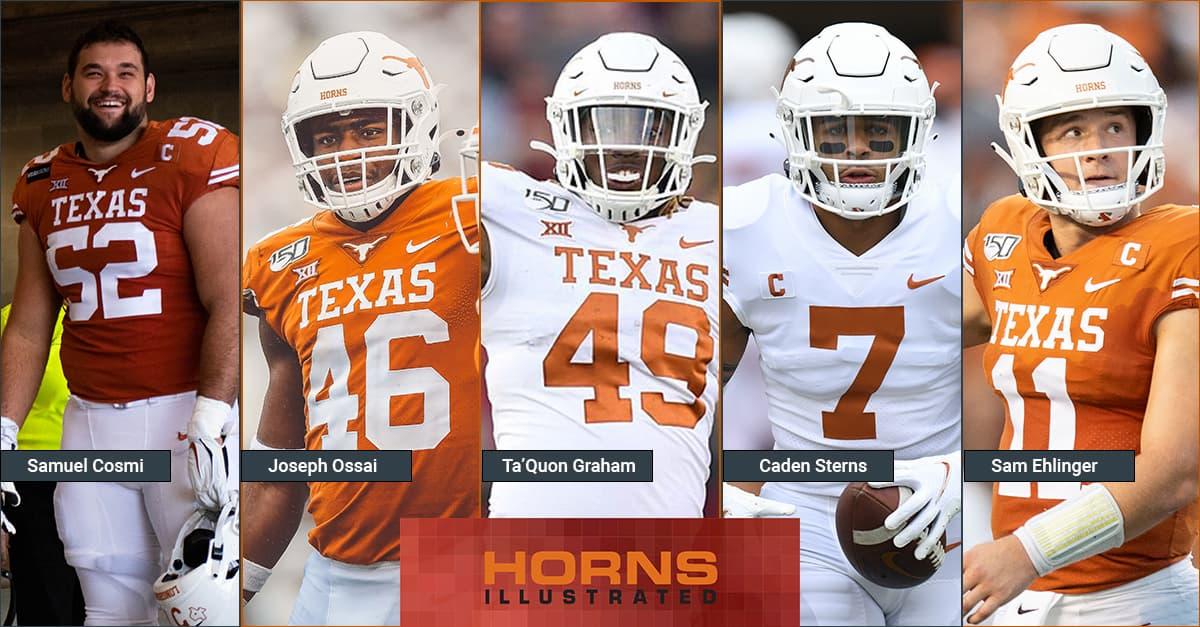 Texas Longhorns 2021 NFL drafted players: Samuel Cosmi, Joseph Ossai, Ta'Quon Graham, Caden Sterns, Sam Ehlinger
