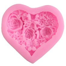 Silicone  Mould – Heart Shaped with Internal Roses