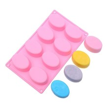 NZ-0269 Silicone 8 x oval cavity soap  bakeware mold.6