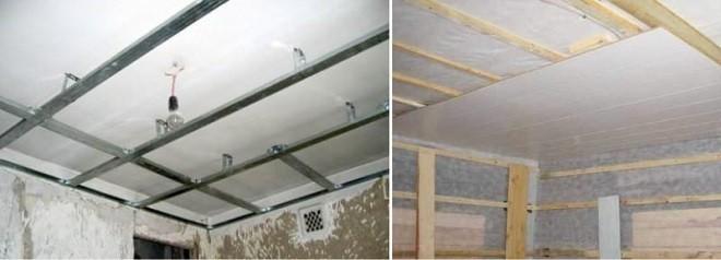 soffitto di plastica in cucina - telai realizzati con profili metallici e travi in legno