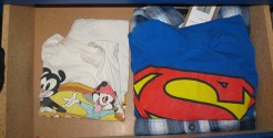 """A drawer solely for """"fun"""" shirts. The dresser has eight drawers; might as well use one for colorful apparel."""