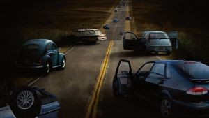 Abandoned highway in the pandemic of the happening film