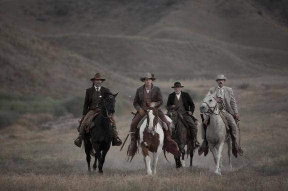 "(L-R): Kurt Russell as Sheriff Franklin Hunt, Patrick Wilson as Arthur O'Dwyer, Richard Jenkins as Chicory and Matthew Fox as John Brooder in the western film ""BONE TOMAHAWK"" an RLJ Entertainment release. Photo credit: Scott Everett White."