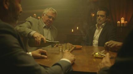 "(L-R) Vlasta Vrana as Khvisto and Romano Orzari as Tracker in the comedy/crime series ""24 HOUR RENTAL."" Photo courtesy of XLrator Media."