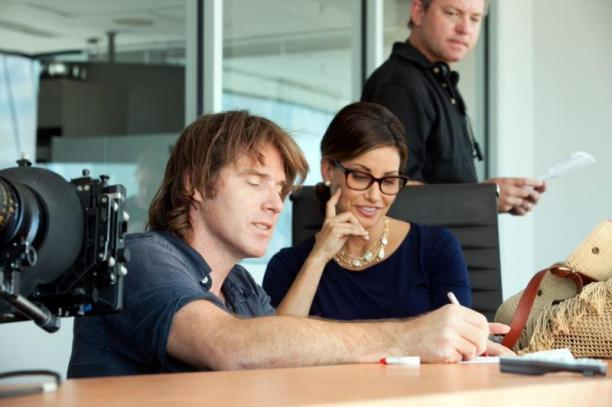 """[L-R] Director Ben Browder and Gina Gershon on set of the thriller """"BAD KIDS OF CRESTVIEW ACADEMY"""" a Momentum Pictures release. Photo courtesy of Momentum Pictures."""