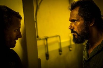 """(L-R) Aaron Glenane as Chook and Aaron Pedersen as German in the horror/thriller film """"KILLING GROUND"""" an IFC Midnight release. Photo courtesy of IFC Midnight."""