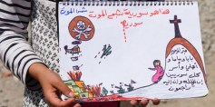 طفلة سورية تجسد برسوماتها معاناة وآلام اللاجئين