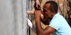 بالصور: أفراد أسرة سورية يلتقون عبر سياج بعد فراق عام