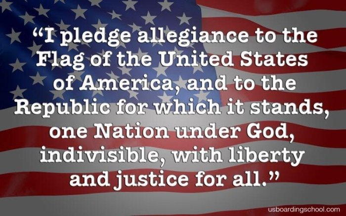 Pledge of Allegiance on US Flag