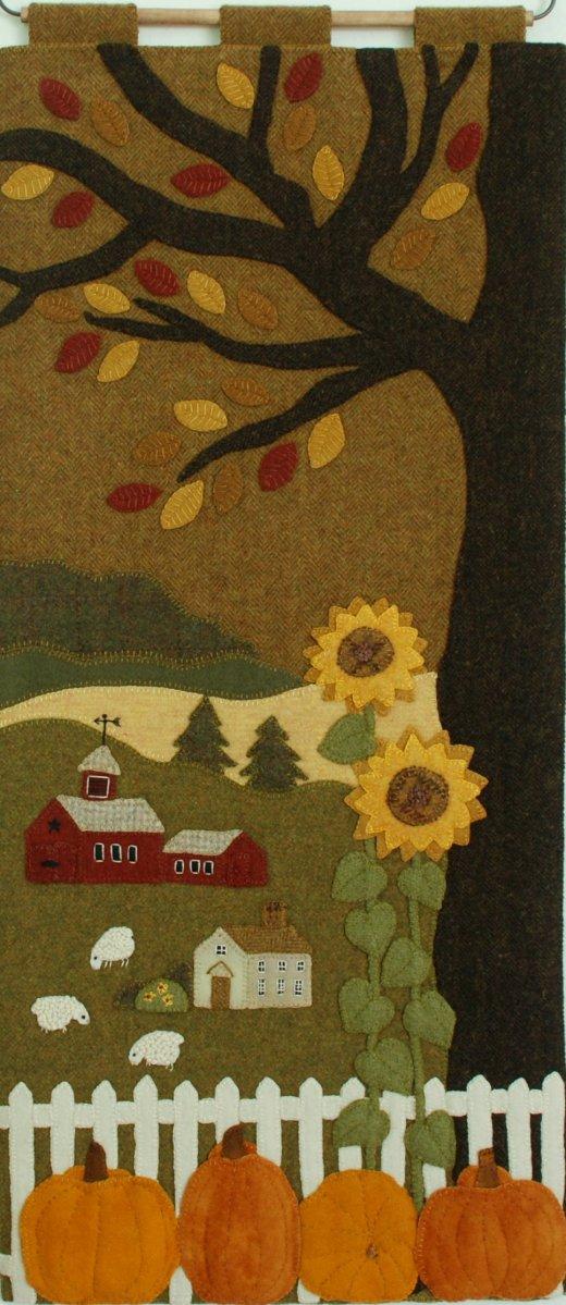 Wool Applique Pattern Kit Pumpkins Sunflowers The Farm On