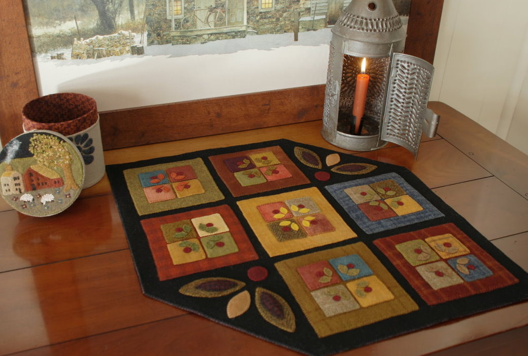 Wool Applique Pattern U201cThe Stone House Kitchenu201d Penny Rug Primitive Table  Runner Candle Mat