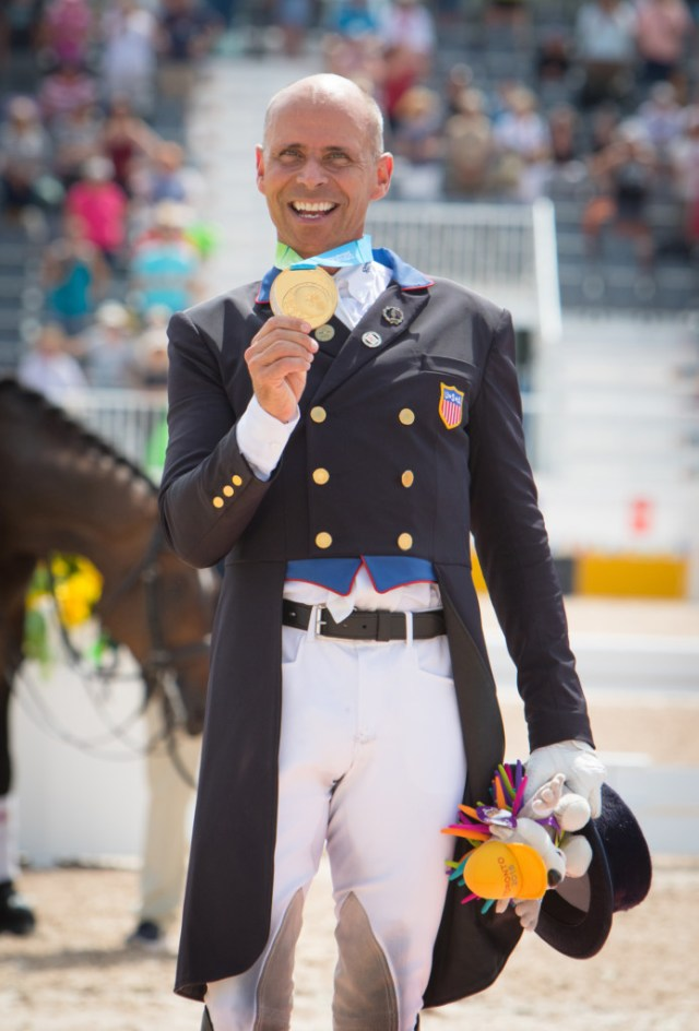 Steffen Peters (USA) on the podium during the 2015 Pan American Games in Ontario, Canada. (Image: StockImageServices.com)