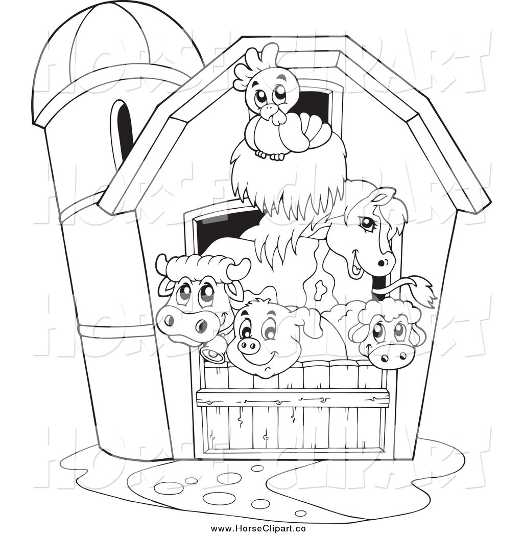 Clip Art Of A Black And White Barnyard Animals In A Barn