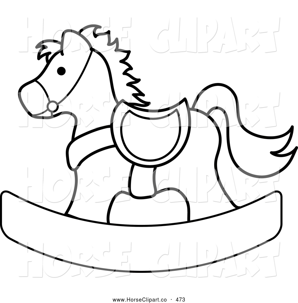 Clip Art Of A Black And White Coloring Page Outlined Children S Wooden Toy Rocking Horse By Pams
