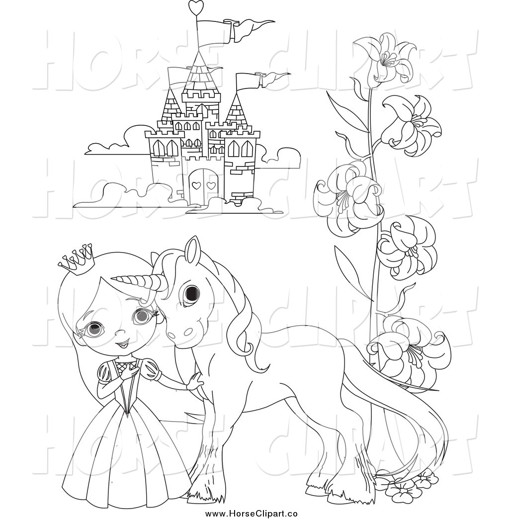 Clip Art Of A Black And White Princess And Pony By A
