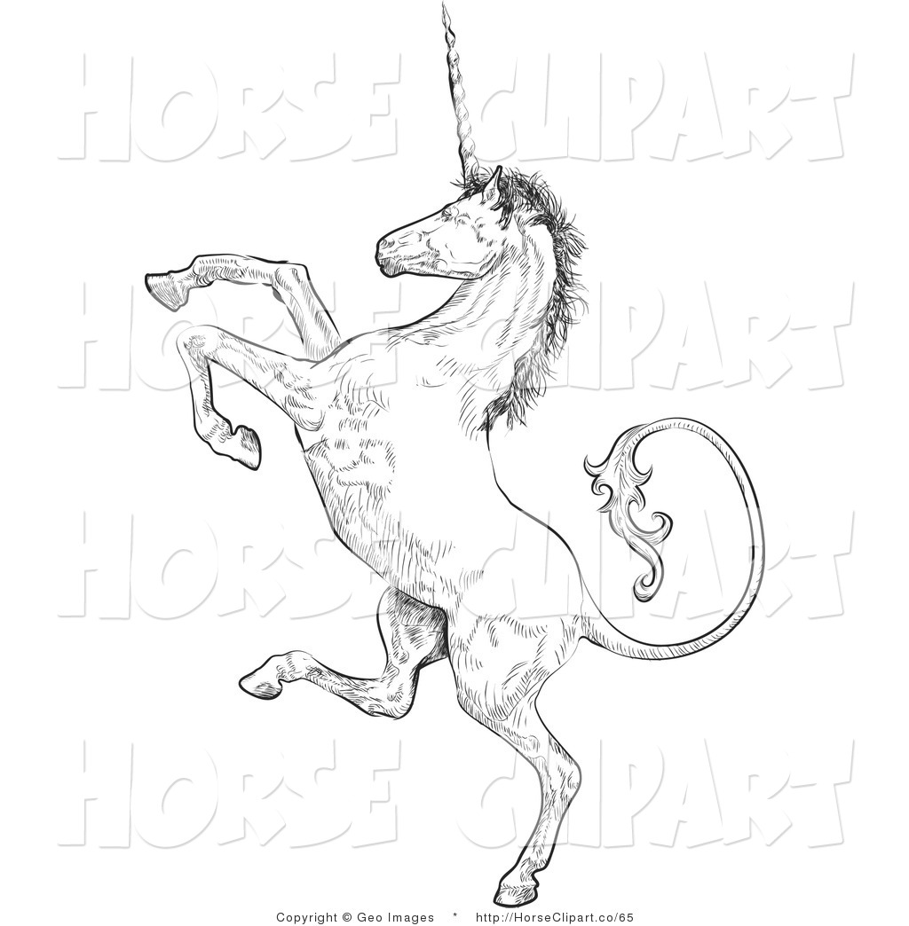 Clip Art Of A Profile Of A Unicorn Rearing Up On His Hind