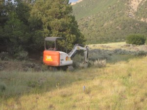 This excavator was used by Trails 2000 to relocate Stacy's Loop in 2011.