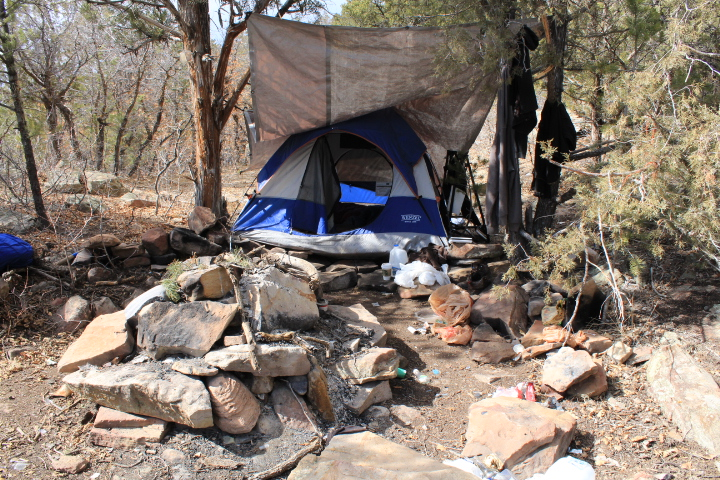 We found this homeless camp in Horse Gulch near the bottom of Trails 2000's proposed freeride trail. Plenty of trash at this camp. You'll see in the other photos, as well.