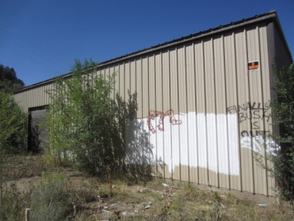 This is the shed that used to sit next to Horse Gulch trail head. It was used by Building Specialties. It was formerly used by Steve Osborne, his family and his business.