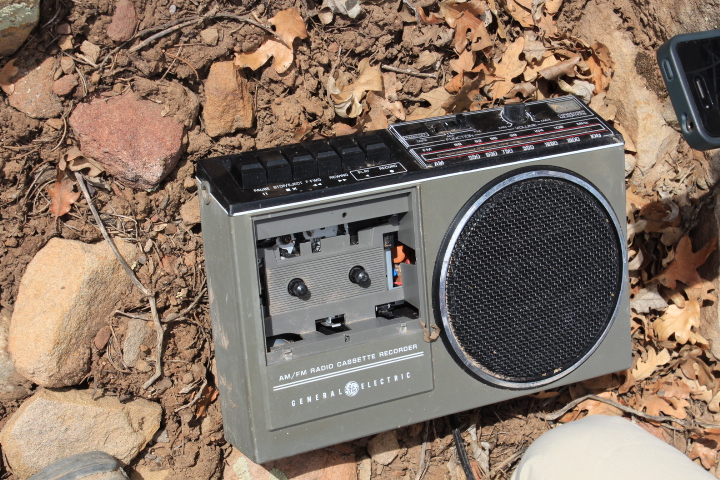 A cassette tape player.