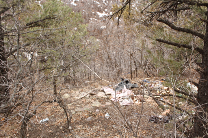 To be fair, this trash is on private property directly adjacent to Horse Gulch Road and City-owned open space. Either way, it still needs to be dealt with.