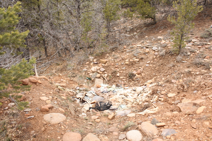 Trash on City-owned open space land in Horse Gulch.