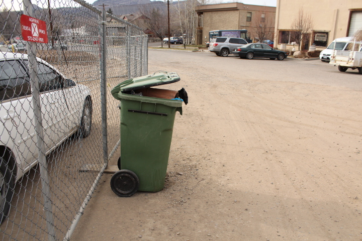 The City's trash can is overflowing at Horse Gulch trail head.