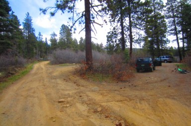 This is the parking lot on Forest Service Road 071 above Durango Hills where you will park if you're going to ride Haflin Creek Trail.