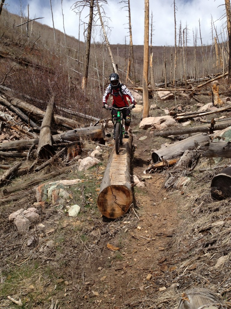 Eventually you come to some killer freeride obstacles.