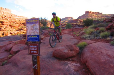 Captain Ahab Trail in Moab is designated as one way to make it safer.