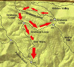 Star Wars Trail, formerly known as the Snake Pit Trail is a narrow, steep trail with blind corners where recreationalists are advised to travel one-way in order to limit the chances of a collision or bad interaction. Hikers and runners should yield to bikers on this trail, as well, since it's easier for them.
